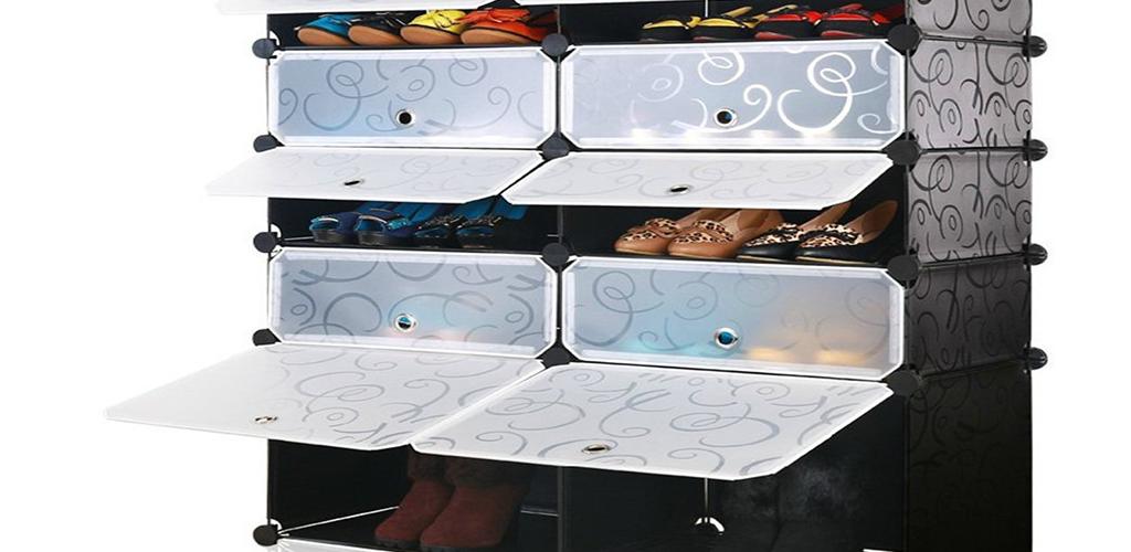 Armario zapatero de resina con separadores